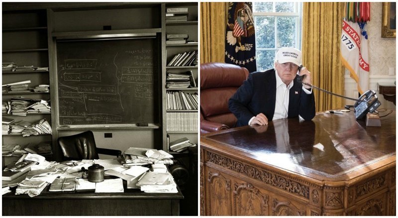 На этом не остановились: стол Трампа сравнили также со столом Эйнштейна Дональд Трамп, Трамп, кризис, президент, работа, рабочее место, сша, фото