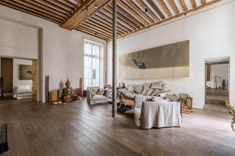 Квартира в центре Парижа стоимостью 8,9 млн евро дизайн интерьера, интерьер, квартиры, лофт