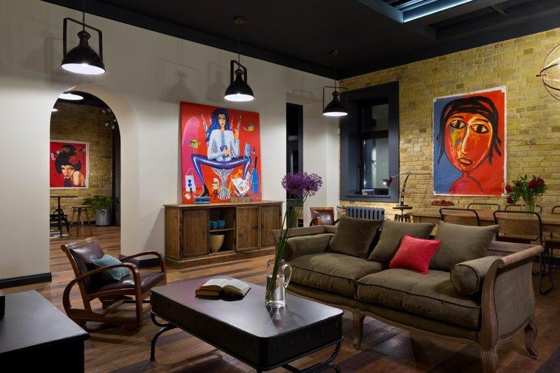 Киевский лофт дизайн интерьера, интерьер, квартиры, лофт