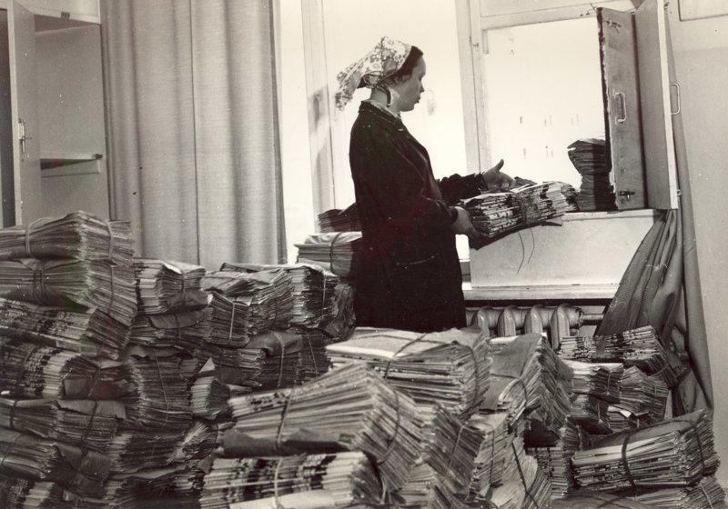 Погрузка газетных пачек с участка доставки СССР, история, ностальгия, почта, почта россии, ретро, снимки