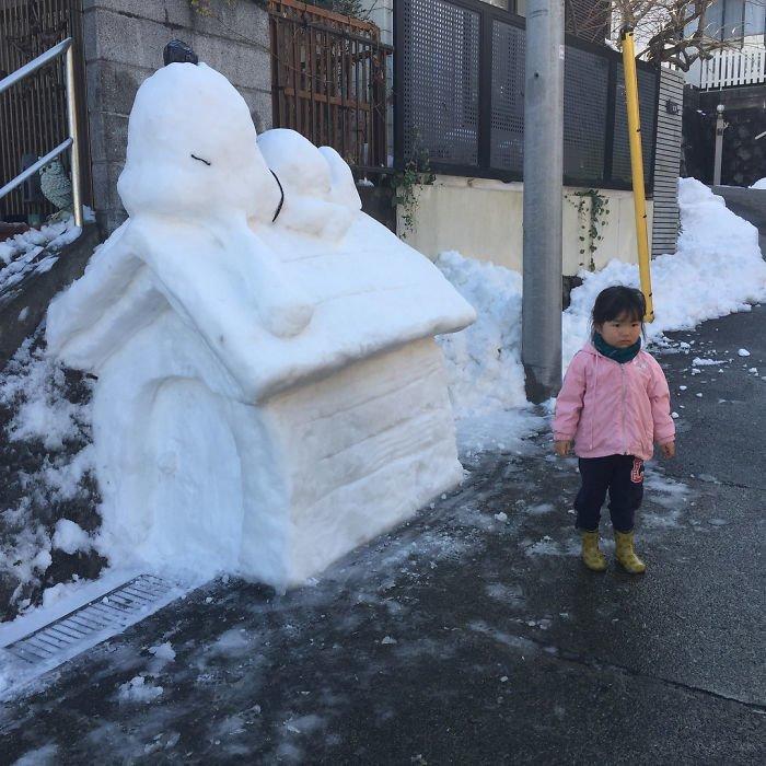 3. снег, снеговик, снеговик - в каждый двор, снеговики, снегопад, снежные, фигуры из снега, япония