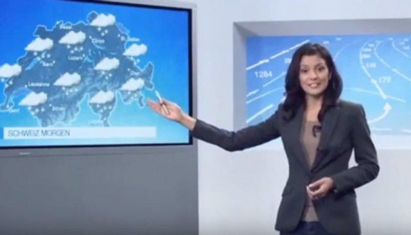 С ведущей прогноза погоды на одном из швейцарских телеканалов случилось то, чего боятся многие телеведущие Эфир, ведущая, видео, падение, погода, прогноз, телеканал