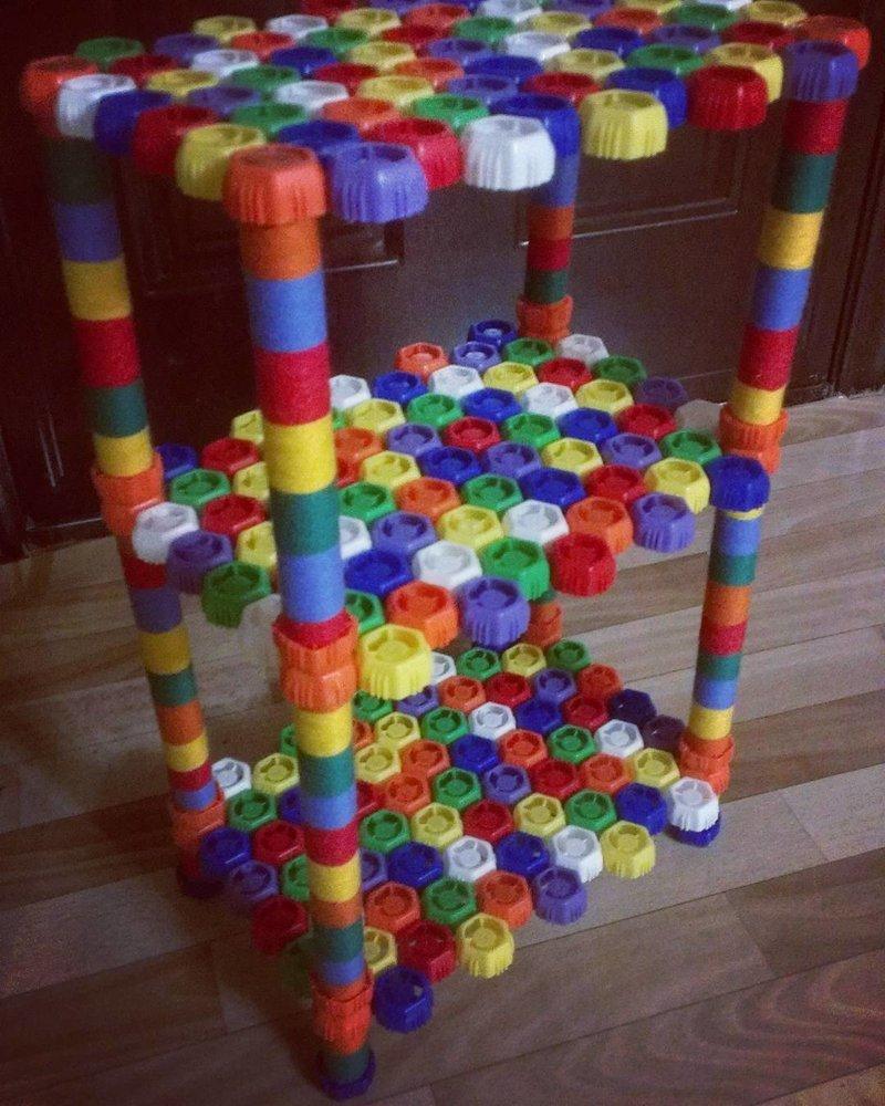 Мебель из крышечек в хозяйстве пригодится, всякие штуки, всячина, годнота, полезности, прикол, штуки