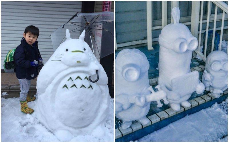 Снегопад, выпавший в японской столице в ночь на 23 января - первый сильнейший снегопад за четыре года. За сутки выпало более 20 см снега. красиво, креатив, подборка, снеговик, снегопад, токио, фото, япония