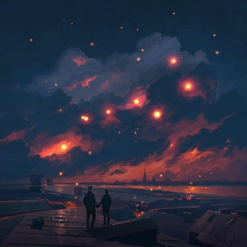 Волшебная ночь артём чебоха, искусство, картины, цифровая живопись