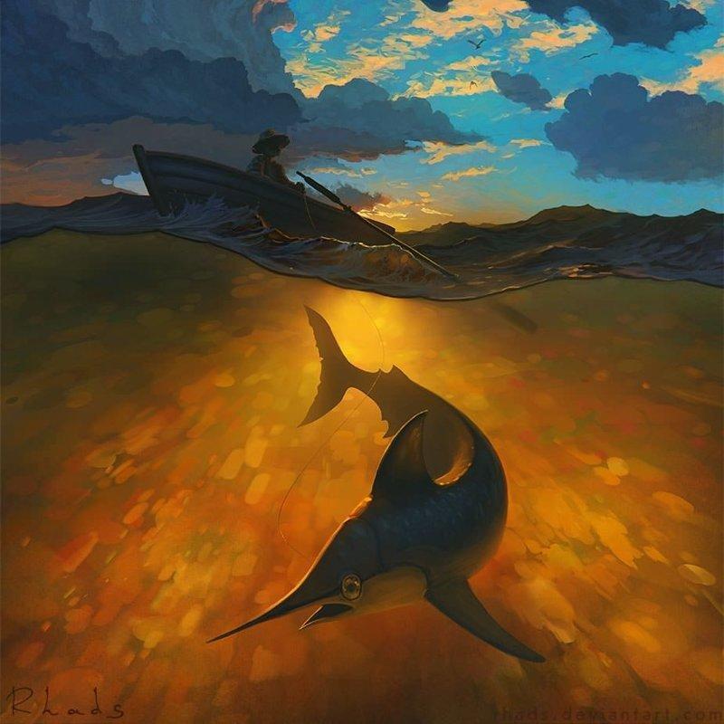 Старик и море артём чебоха, искусство, картины, цифровая живопись