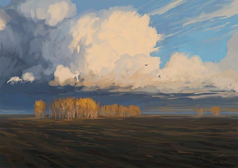 Октябрь. Пашня артём чебоха, искусство, картины, цифровая живопись