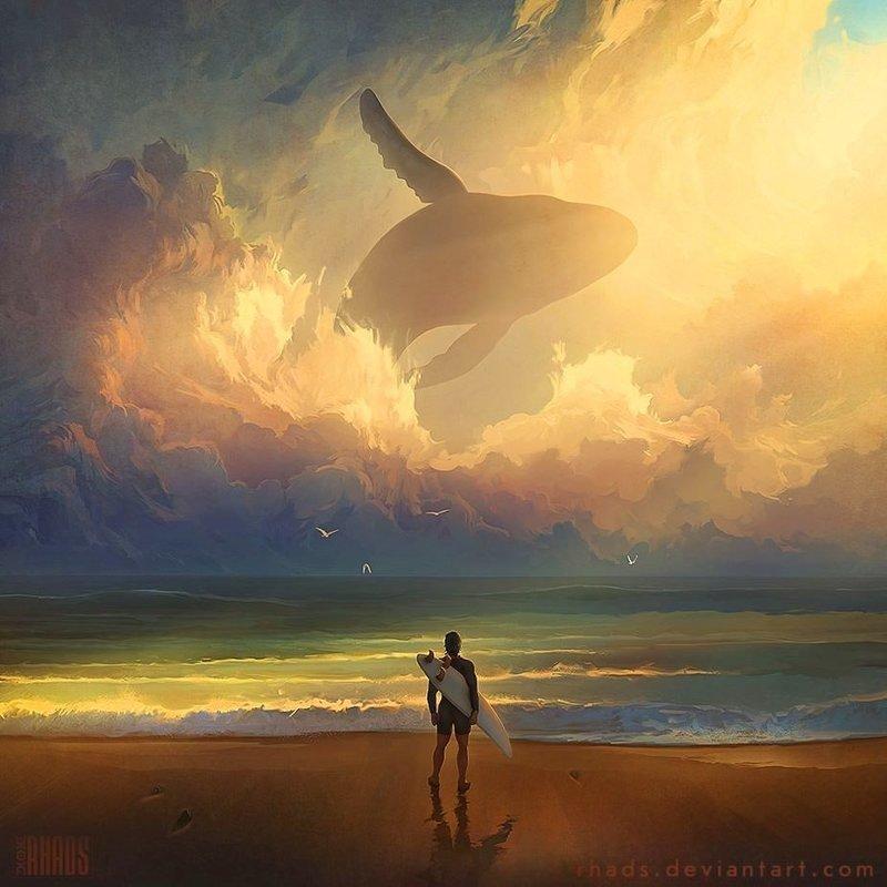 В Ожидании Волны артём чебоха, искусство, картины, цифровая живопись