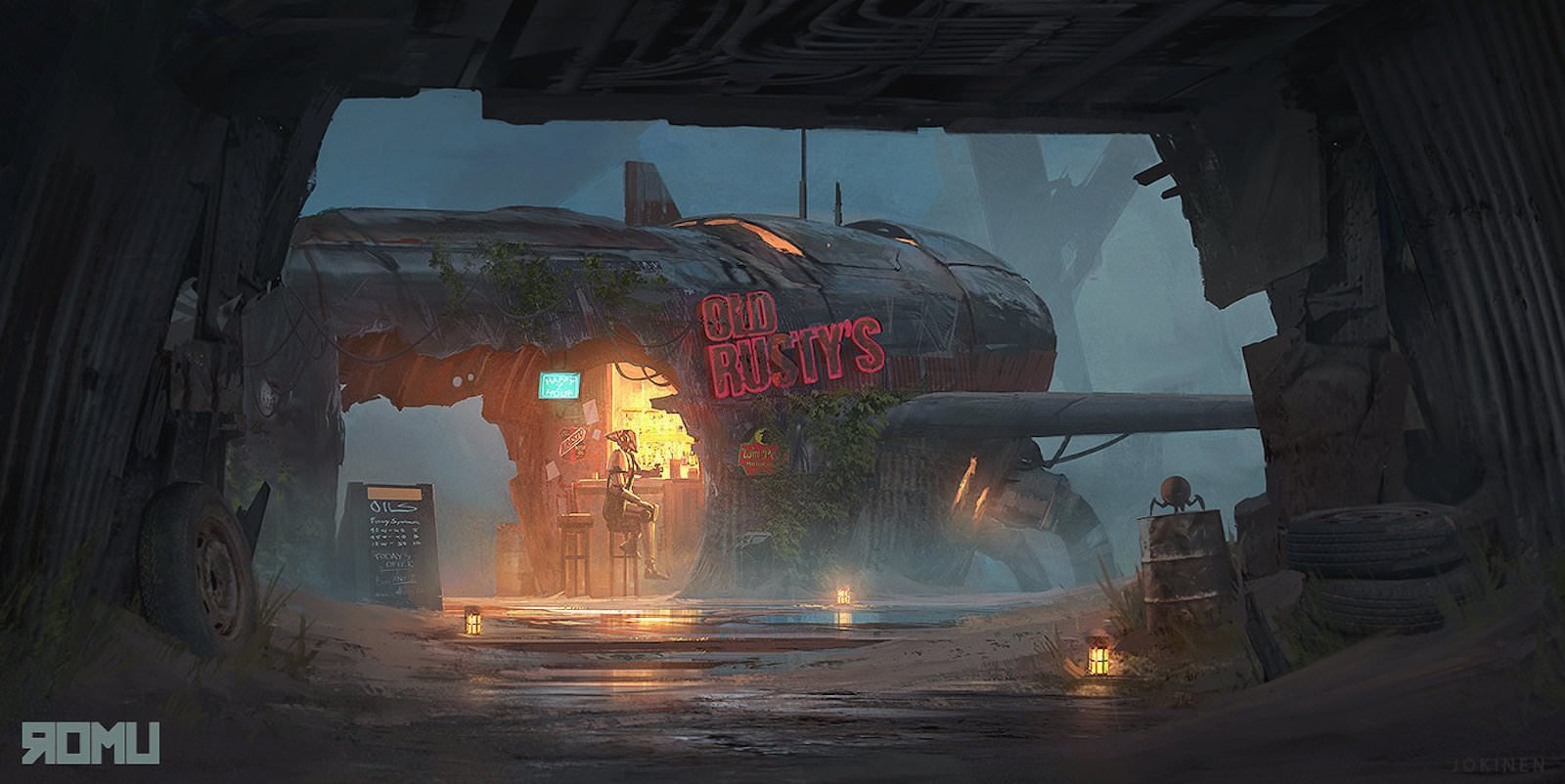 Old Rusty's Bar искусство, картины, рисунки, юхани йокинен
