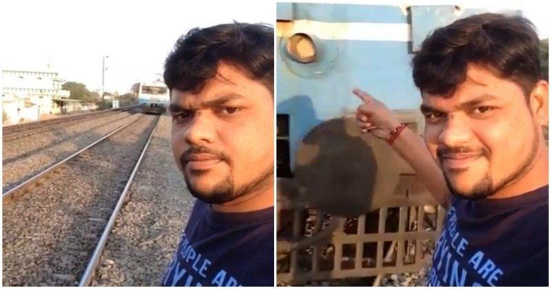 Любить селфи из Индии едва не заснял собственную смерть в мире, видео, железная дорога, идиот, индия, поезд, происшествие, селфи