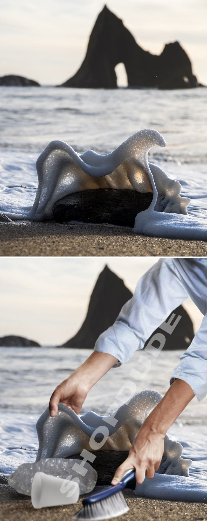 5. Волна, разбивающаяся о камни животные, забавно, люди, подборка, фотошоп, юмор