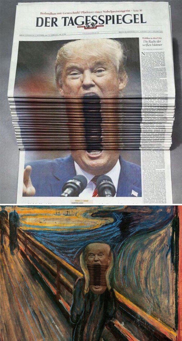 """4. Дональд Трамп, """"кричащий"""" на обложках газет животные, забавно, люди, подборка, фотошоп, юмор"""