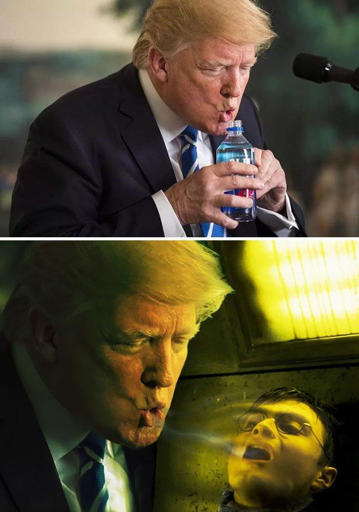 1. Дональд Трамп пьет воду животные, забавно, люди, подборка, фотошоп, юмор