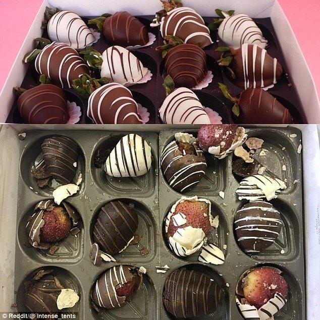 6. Клубника в шоколаде: реклама и жизнь Reddit, доставка еды, еда, обломы, ожидание и реальноость, полный провал, разочарования, смешные картинки