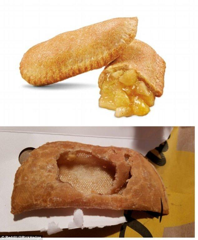 4. Яблочный пирожок в реальности почему-то не такой красивый и без начинки Reddit, доставка еды, еда, обломы, ожидание и реальноость, полный провал, разочарования, смешные картинки
