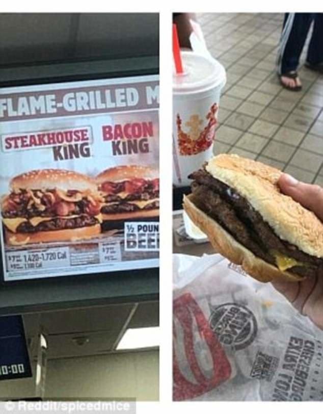 8. Бургер справа выглядит далеко не таким аппетитным, как на рекламной картинке Reddit, доставка еды, еда, обломы, ожидание и реальноость, полный провал, разочарования, смешные картинки