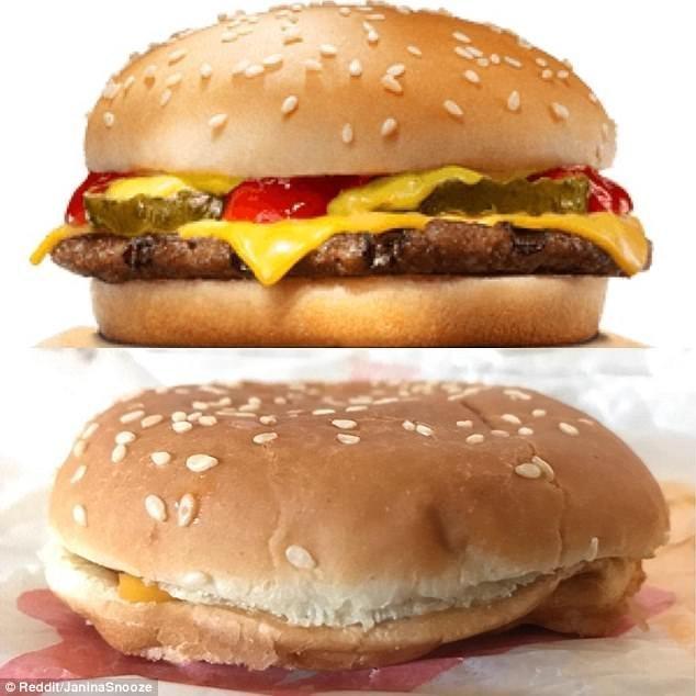 2. Бургер на картинке и бургер, который приносят, отличаются как небо и земля Reddit, доставка еды, еда, обломы, ожидание и реальноость, полный провал, разочарования, смешные картинки