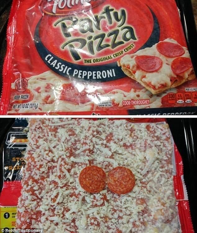 """10. Классическая пицца """"пепперони"""" - с двумя кусочками колбаски! Reddit, доставка еды, еда, обломы, ожидание и реальноость, полный провал, разочарования, смешные картинки"""