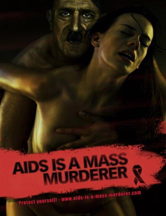 """1. Социальная реклама против СПИДа в 2009г в Германии. """"СПИД - массовый убийца"""" безопасный секс, вич, презервативы, профилактика, реклама, спид"""