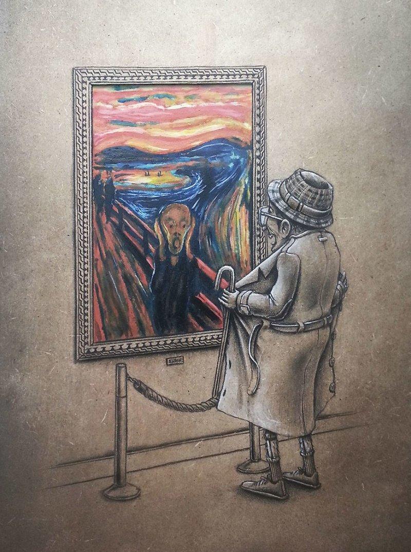 Эксгибиционизм («Крик», Эдвард Мунк) Пез, забавно, искусство, картины, художник, шедевр