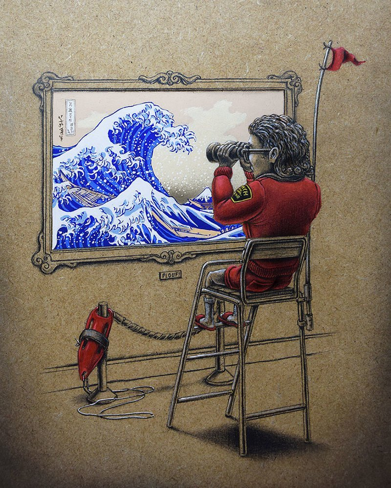Волна («Большая волна в Канагаве», Кацусика Хокусай) Пез, забавно, искусство, картины, художник, шедевр