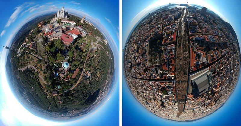От пляжей Барселоны до горы Монжуик, фотограф Бруно Аленкастро превратил испанский город в миниатюрные планеты 360, аэросъемка, барселона, испания, мир, планета, ракурс, фотография