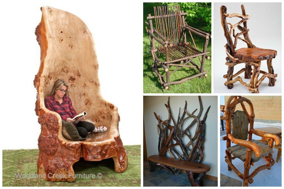 Мебель из веток и коряг фото