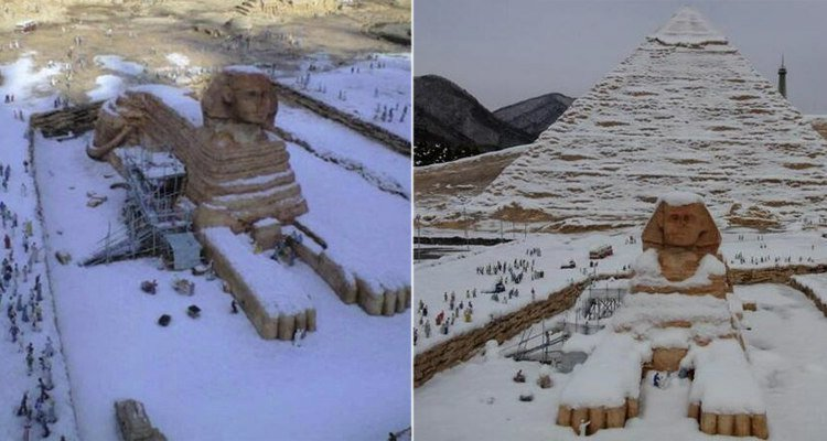 Первый за 112 лет снегопад в северной Африке покрыл Сфинкса снегом газетные утки, дутые сенсации, истории, непроверенные факты, фальшивки, фальшивые новости, фото, фотограии