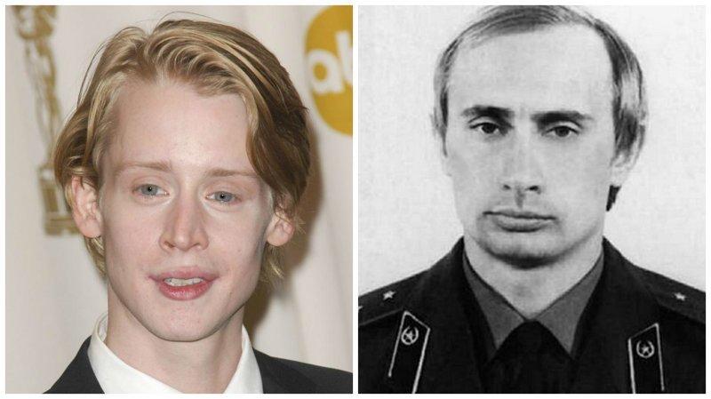 Маколей Калкин и Владимир Путин голливуд, двойники, знаменитости, похожие, сравнение, сходство