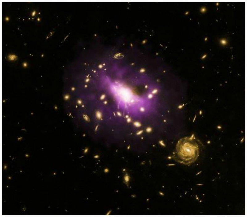 Черная дыра  в скоплении галактик под названием RX J1532.9 +3021 (RX J1532 для краткости), которая расположена примерно 3,9 млрд световых лет от Земли интересное, космос, красота, наука, фото