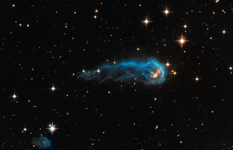 """Космический """"Головастик"""", известный среди ученых как IRAS 20324+4057, является яркой протозвездой на очень ранней стадии эволюции интересное, космос, красота, наука, фото"""