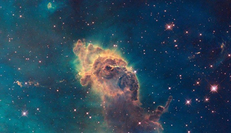 Столб и джеты в туманности Киля интересное, космос, красота, наука, фото