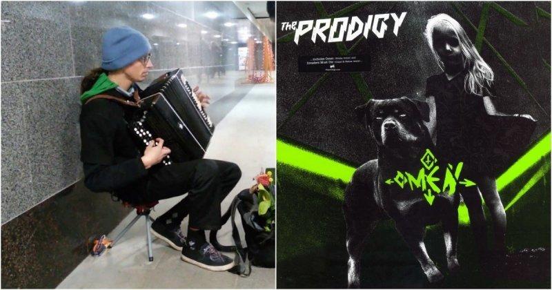 Уличный музыкант сыграл хит группы The Prodigy на баяне  The Prodigy, баян, видео, кавер, музыка, музыкант, омен, переход, талант, уличный музыкант