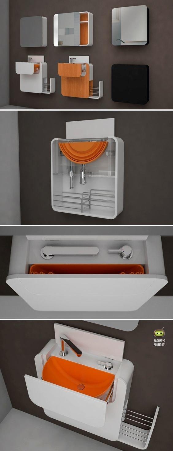 Выдвижные настенные раковины Фабрика идей, ванная, идеи, компактность, маленькое помещение, экономность, эргономика