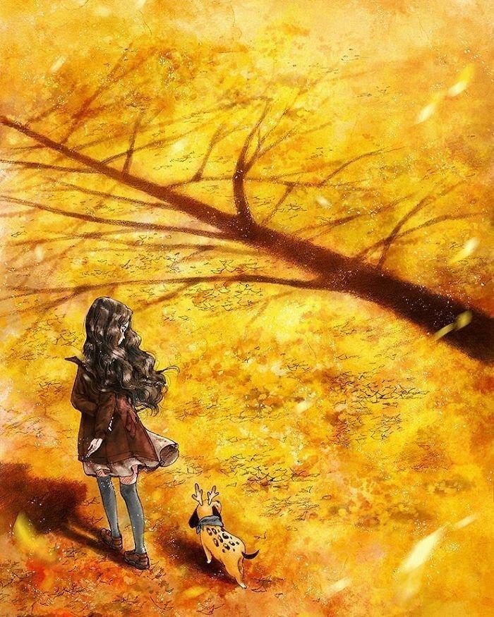 Рисунок девочка в осеннем лесу