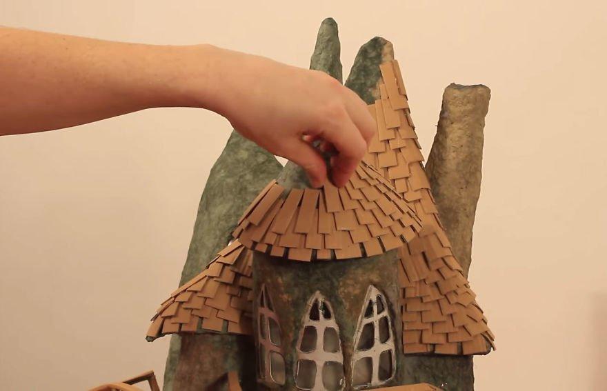 Как сделать домик из коробки своими руками, кукольный 68