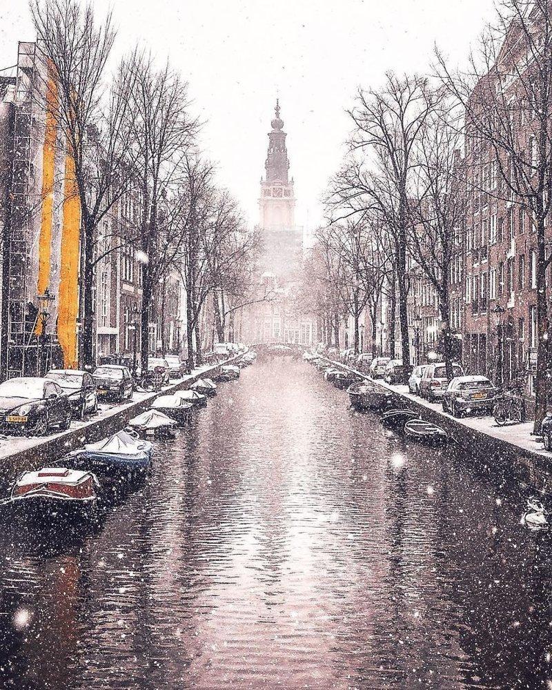 И напоследок - удивительные, очень атмосферные зимние фотографии из Амстердама Ницца, амстердам, европа, италия, рим, снег, снегопад, фоторепортаж