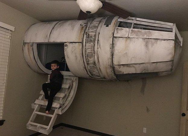 """Папа сделал для сына необыкновенную кровать в стиле """"Звездных войн"""" «Звездные Войны», Оклахома-сити, детская кровать, космическая кровать, необычно, оригинально, папа может, своими руками"""