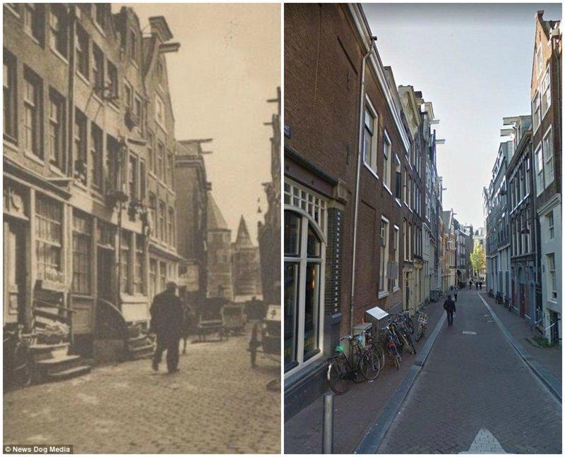 Одна из улиц красных фонарей в 1929-м и в настоящее время амстердам, исторические кадры, история, нидерланды, проститутки, проституция, улица красных фонарей, фото