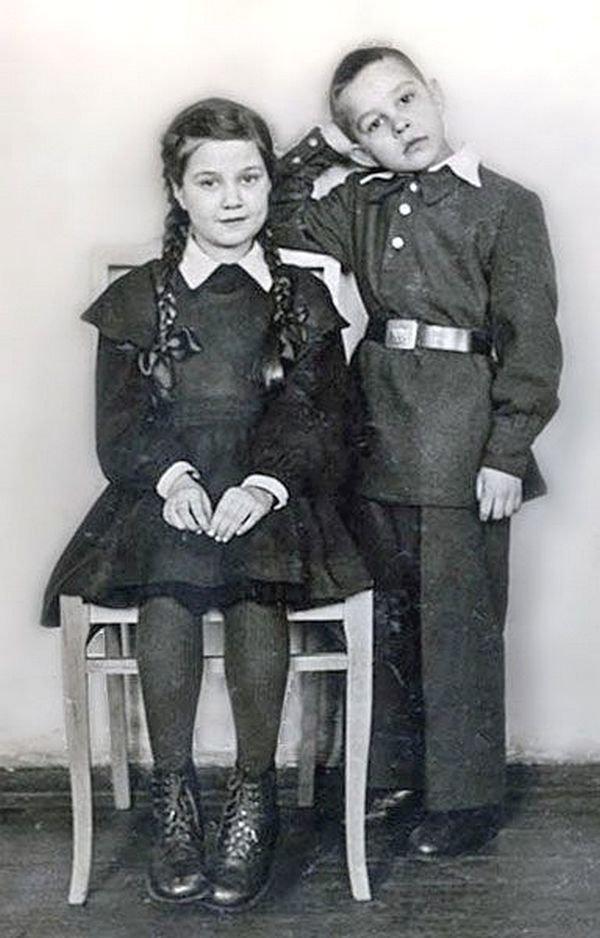 Школьники сороковых-пятидесятых СССР, детство, фотографии