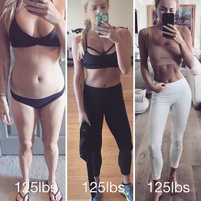 2. 57 кг тоже могут выглядеть по-разному до и после, качаем, преображение, спорт, спортзал, спортивные девушки, фитнес, фитнес мотивация фото