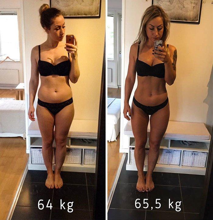 17. 64 кг - 65,5 кг. Ну и какой вес лучше? до и после, качаем, преображение, спорт, спортзал, спортивные девушки, фитнес, фитнес мотивация фото