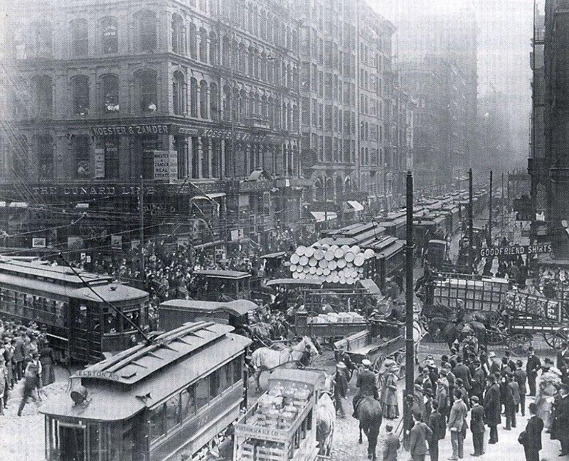 3. Час пик в Чикаго, 1909 было стало, интересно, история, пробки, пробки в москве тогда и сейчас, факты, фото