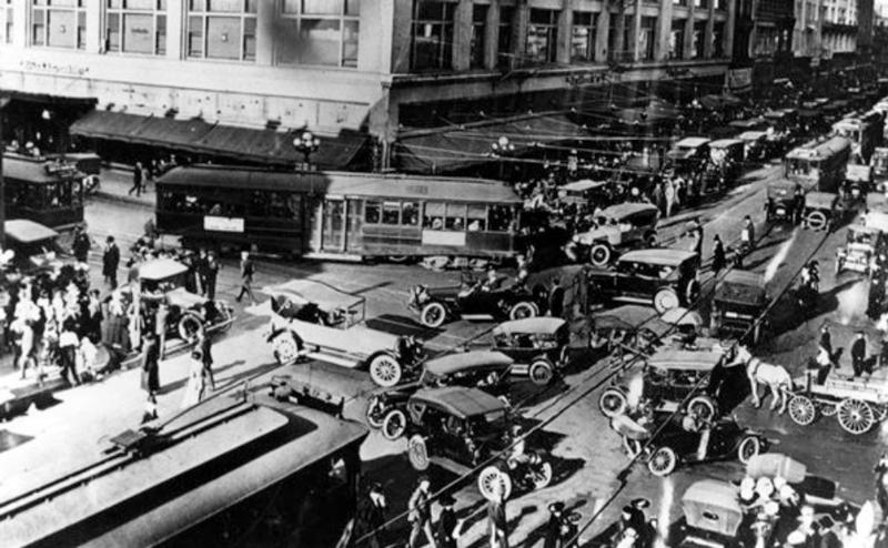 4. Центр Лос-Анджелеса около 1920-х годов было стало, интересно, история, пробки, пробки в москве тогда и сейчас, факты, фото