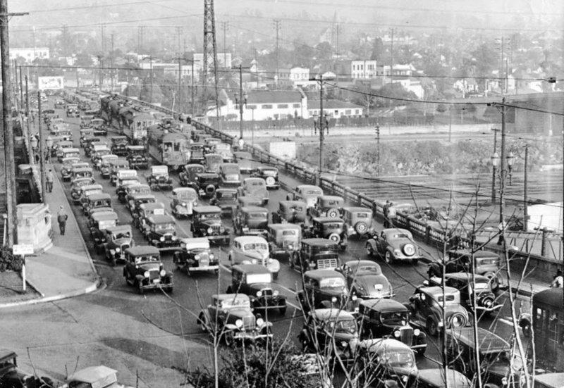 Пробка на Бродвейском мосту, 1937 было стало, интересно, история, пробки, пробки в москве тогда и сейчас, факты, фото