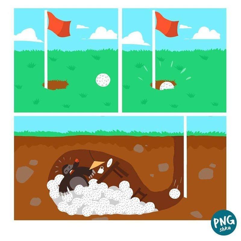 4. О, мой гольф! иллюстратор, комиксы, обыденные вещи, рисунок, юмор