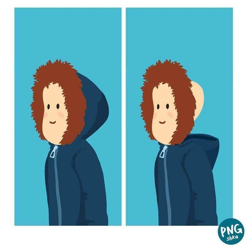20. Зимняя причёска иллюстратор, комиксы, обыденные вещи, рисунок, юмор
