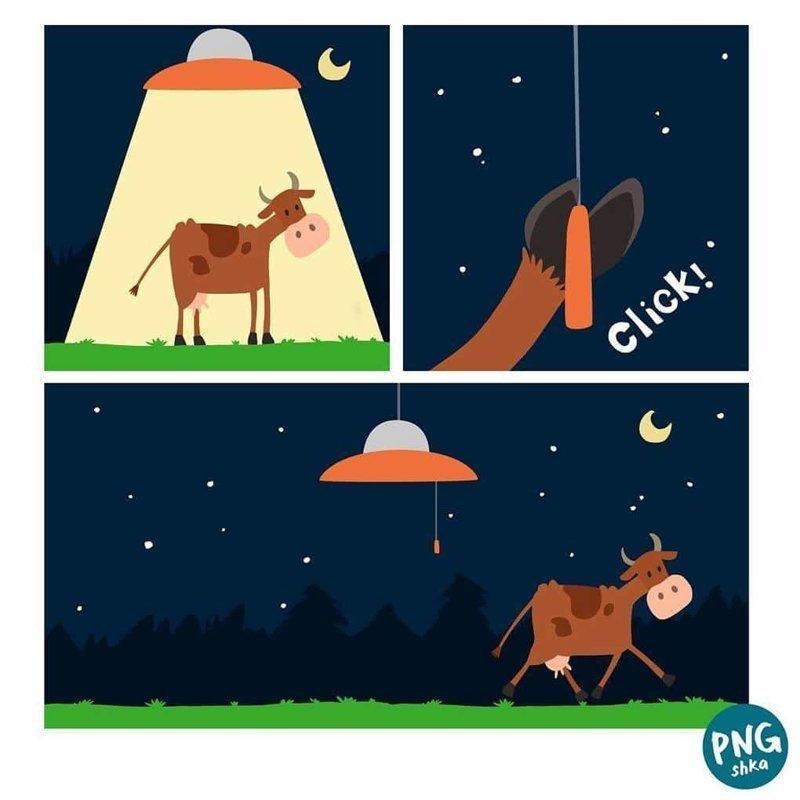 12. Коровья ночь иллюстратор, комиксы, обыденные вещи, рисунок, юмор