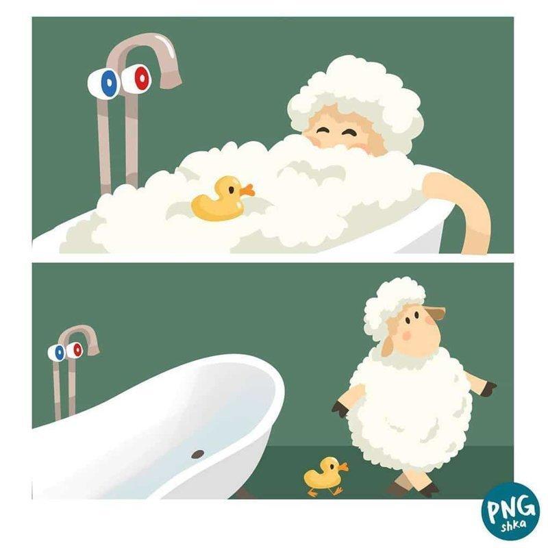 19. Расслабляющая ванна иллюстратор, комиксы, обыденные вещи, рисунок, юмор