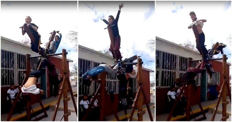 Необычная детская карусель в Мексике видео, дети, карусель, мексика, прикол, развлечения, родители
